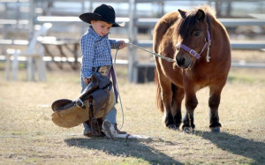 RODEO FUN - CUTE LITTLE COWBOY READY TO SADDLE HIS CUTE LITTLE PONY!