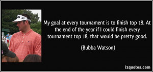 goal at every tournament is to finish top 18. At the end of the year ...