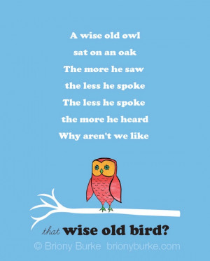 Wise Old Red Blue Owl Bird Quote 8 x 10 Art by BrionyBurke on Etsy, $ ...