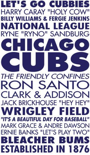 Chicago Cubs Baseball Sports Subway Art Vinyl Wall Decal