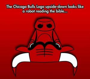 The Chicago Bulls Logo upside-down looks like a robot reading the ...