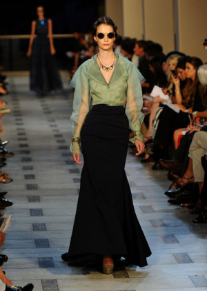 model walks the runway at the Zac Posen Spring 2012 fashion show ...