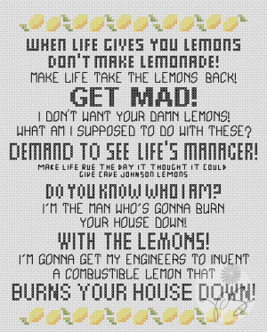 Embroidery: Portal 2 quote - With the Lemons