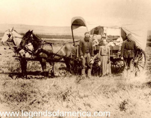 covered wagon in the days of the Old West .