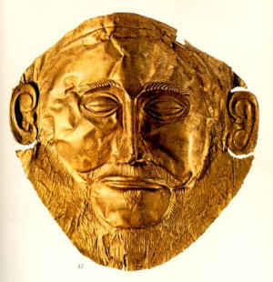 The Gold death Mask found at Mycenae. Orginally thought to be the Mask ...