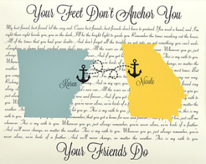 Custom Best Friend Birthday Gift: S pecial Song Map Friendship Quote ...