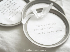 repurposed stovetop ring linen quotes