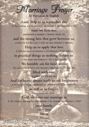 Marriage Prayer in Hawaiian and English text over image entitled