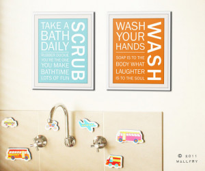 Bathroom art prints. Bathroom Rules. Kids bathroom wall quotes. Wash ...