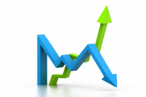 stock market arrows gain loss stock photo