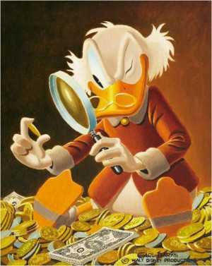 Platz 1: Dagobert Duck liebt seine Goldtaler und schwimmt auch gerne ...