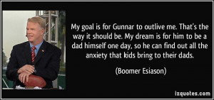 My goal is for Gunnar to outlive me. That's the way it should be. My ...