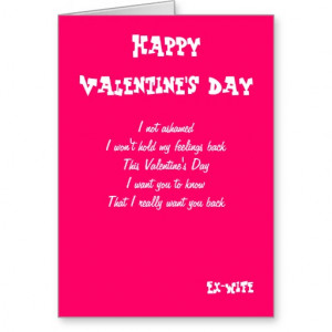 Ex-wife I want you back valentine's day cards