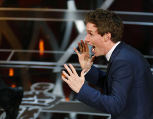 Eddie Redmayne could not contain his excitement over his first Oscar ...