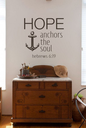 Hebrews 619 Vinyl Quote Hope Anchors The Soul by KeyReflection, $16.70
