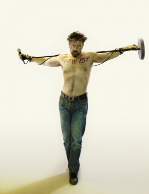 Atheist Ricky Gervais does Jesus-like pose for magazine cover