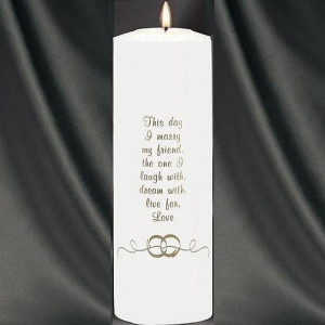 WDSC- Wedding Rings Theme Wedding Unity Candle With Verse (White)