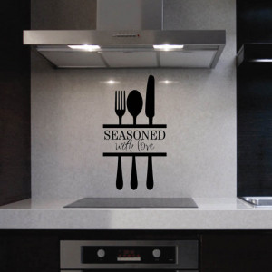 Vinyl Wall Quotes Kitchen Lettering Seasoned with Love