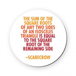 Scarecrow Math Quote Cork Coaster on
