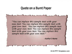 Quote highlighted on paper with burnt effect