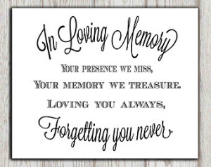 memory of print Memorial table Wedding memorial sign Memorial quotes ...