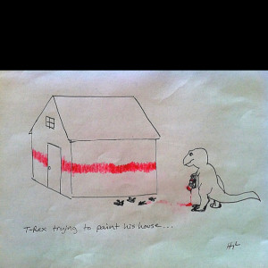 Rex Trying to Paint a House. Love it.
