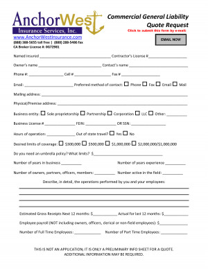 Commercial General Liability Quote Form - PDF