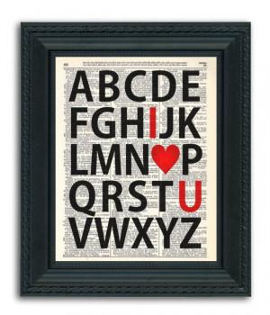 Alphabet LOVE Typography Quote Dictionary Art by RetroBookArt