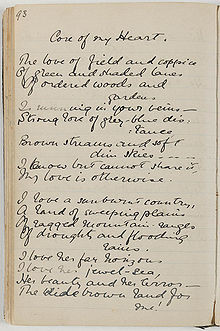 Mackellar's notebook with first two verses