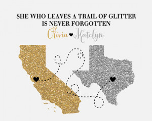 ... Moving Away, Farewell Gift, Glitter Quote, Sparkle, Bling, Glam - Gift