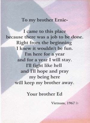poem to my little brother 1967 Army Vietnam 14th 25thdiv co d