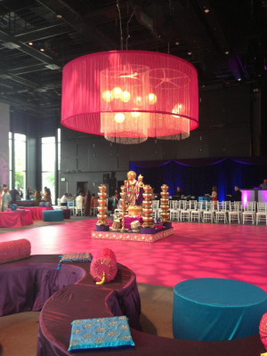 Wow! Hot Pink Dance Floor for Traditional Indian Wedding Dance