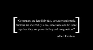 Albert Einstein quotes technology in black background
