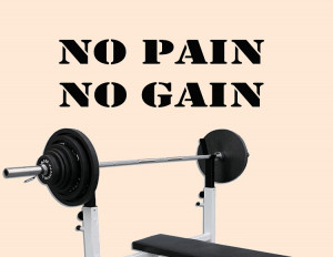No Pain No Gain Exercise Vinyl Wall Quote Workout