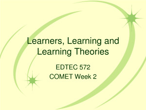 Learners, Learning and Learning Theories