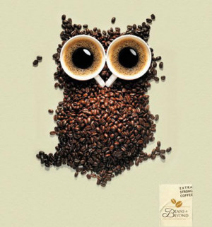 beans and beyond coffee owl poster Coffee Owl