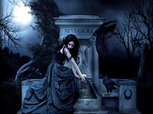 gothic women dark fantasy poe raven wallpaper background