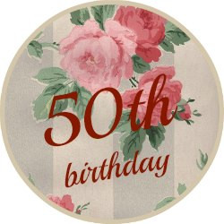 Round pink vintage wallpaer button saying 50th birthday