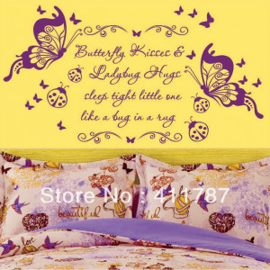 ... Beautiful quote Flowers Butterflies Kiss Pvc Wall Stickers Wall Decals