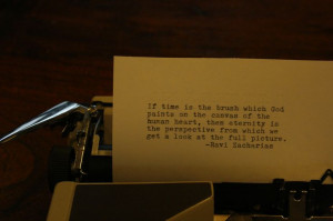 Ravi Zacharias quote on typewriter
