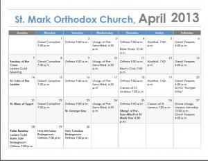 Mark Orthodox Church Irvine Blog Archive April Calendar