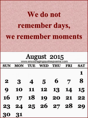 August 2015 Calendar with quotes