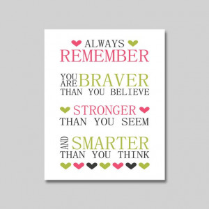 Nursery Print - Winnie the Pooh Quote - 8 x 10 print - You Are Braver ...