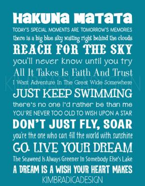 Disney Inspirational Movie Quotes Subway Art, 11x14 Digital Print