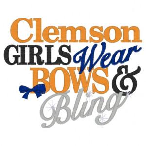 Sayings (3323) Clemson Girls Bows & Bling 5x7