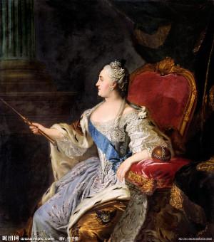 在画布上的女皇叶卡捷琳娜大帝的肖像