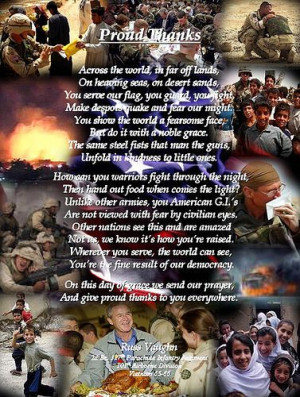 ... thanks again to our soldiers, Marines, airmen and sailors! God bless