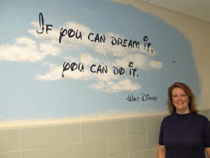 Kathy Pavoncello is shown with one of the motivational quotes she is ...