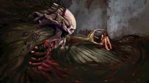 dark horror evil demon skull skeleton macabre gothic women girl mood ...