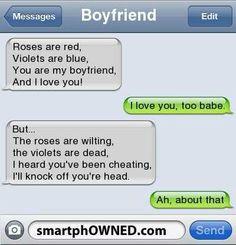 Lol Cheating Boyfriend Poems...